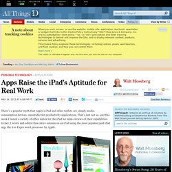 Apps Raise the iPad's Aptitude for Real Work - Walt Mossberg - Personal Technology