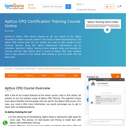 Apttus CPQ Training Course Online By Industry Expert