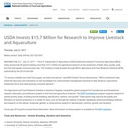 NIFA USDA 27/07/17 USDA Invests $15.7 Million for Research to Improve Livestock and Aquaculture
