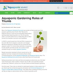 Aquaponic Gardening Rules of Thumb