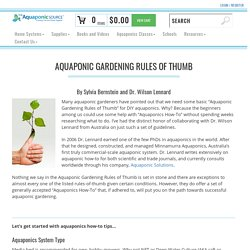 Aquaponics How To - The Aquaponic Source Rules of Thumb