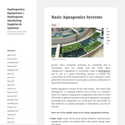 Basic Aquaponics Systems - Hydroponics Equipment