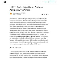 1(807) 698–0194 Saudi Arabian Airlines Live Person - Searchangout com - Medium