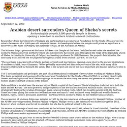 Arabian desert surrenders Queen of Sheba's secrets