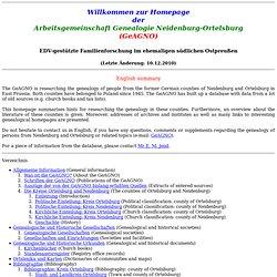 Homepage der Genealogischen Arbeitsgemeinschaft Neidenburg-Ortel