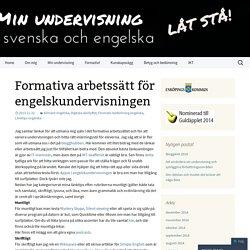Formativa arbetssätt för engelskundervisningen