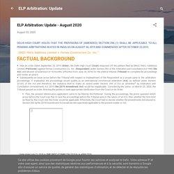 ELP Arbitration: Update - August 2020