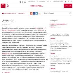 Arcadia nell'Enciclopedia Treccani