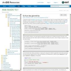 ArcGIS Help 10.1 - Ecriture des géométries