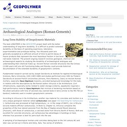 Archaeological Analogues (Roman Cements) – Geopolymer Institute