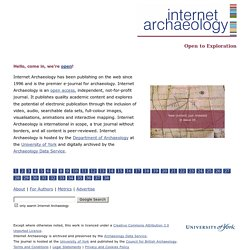 Internet Archaeology - Electronic Journal - Home Page