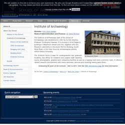 Institute of Archaeology - School of Archaeology - University of Oxford