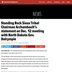 12.12.16 Tribal Chairman Archambault's statement on Dec. 12 meeting with North Dakota Gov. Dalrymple