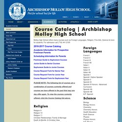 Courses Offered By Archbishop Molloy High School
