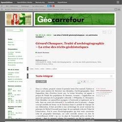 Gérard Chouquer, Traité d'archéogéographie – La crise des récits géohistoriques