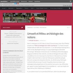 Umwelt et Milieu: archéologie des notions