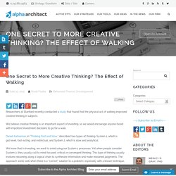 One Secret to More Creative Thinking? The Effect of Walking - Alpha ArchitectAlpha Architect