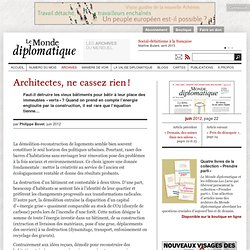 Architectes, ne cassez rien!, par Philippe Bovet