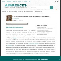 Les architectes du Quattrocento à Florence