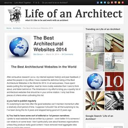 The Best Architectural Websites 2014