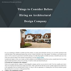 Architectural Designs and Styles