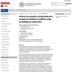 Informer la conception architecturale par le contexte de médiations du BIM. En quête de l'intelligence collaborative — Laboratoire de recherche en architecture