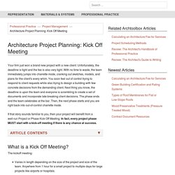 Architecture Project Planning: Kick Off Meeting - archtoolbox.com