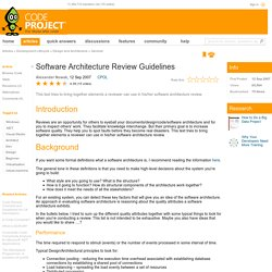 Software Architecture Review Guidelines
