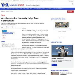 Architecture for Humanity Helps Poor Communities
