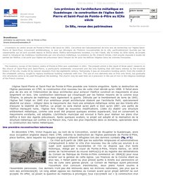 N° - Les prémices de l'architecture métallique en Guadeloupe: la construction de l'église Saint-Pierre et Saint-Paul de Pointe-à-Pitre au XIXe siècle