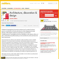 Architecture, décoration & design - Métiers.be