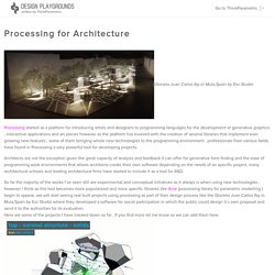 Processing for Architecture