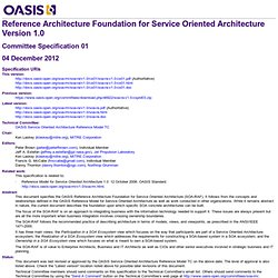 Reference Architecture Foundation for Service Oriented Architecture Version 1.0