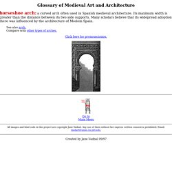 Glossary of Medieval Art and Architecture: horseshoe arch