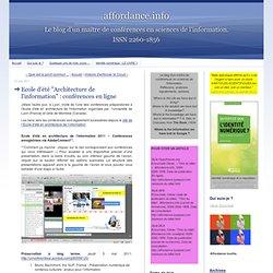 """Ecole d'été """"Architecture de l'information"""" : conférences en ligne"""