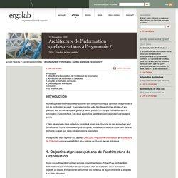 Architecture de l'information, quelles relations à l'ergonomie?