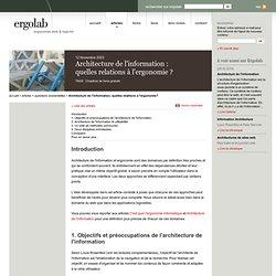Architecture de l'information: quelles relations à l'ergonomie?