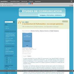 2013 L'Architecture de l'information : un concept opératoire