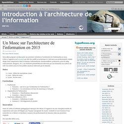 Un Mooc sur l'architecture de l'information en 2015