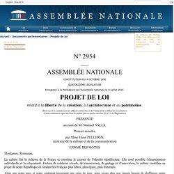 N°2954 - Projet de loi relatif à la liberté de la création, à l'architecture et au patrimoine