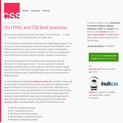 On HTML and CSS best practices