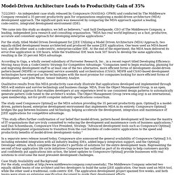 Model-Driven Architecture Leads to Productivity Gain of 35%