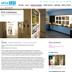 AUD : Degrees & Programs : Ph.D. in Architecture