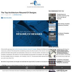 The Top Architecture Résumé/CV Designs
