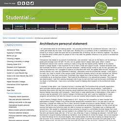 architecture personal statement