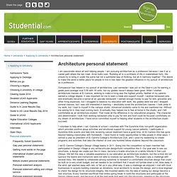 architecture personal statement