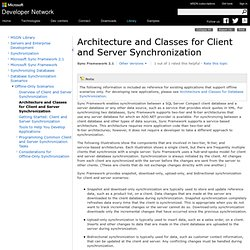 Architecture and Classes for Client and Server Synchronization
