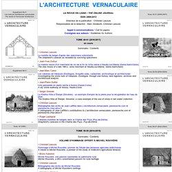 """PAGE D'ACCUEIL DE LA REVUE """"L'ARCHITECTURE VERNACULAIRE"""""""
