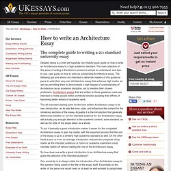How to write an architecture essay