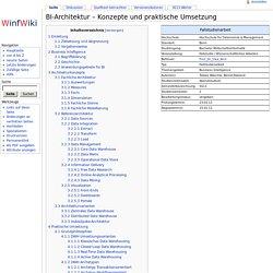 BI-Architektur – Konzepte und praktische Umsetzung – Winfwiki